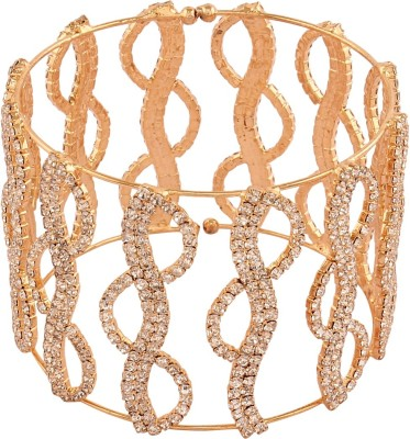 AccessHer Brass Cubic Zirconia Yellow Gold Cuff at flipkart