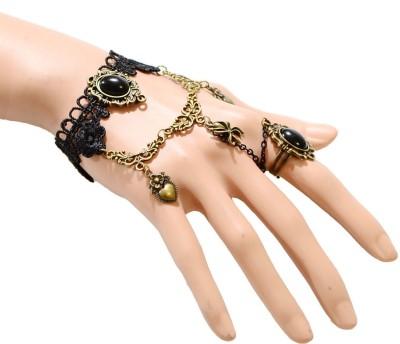 Sitaram Fabric Pearl Brass Charm Bracelet