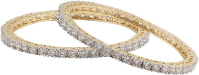 Fasherati Brass Cubic Zirconia Rose Gold Bangle(Pack of 2)