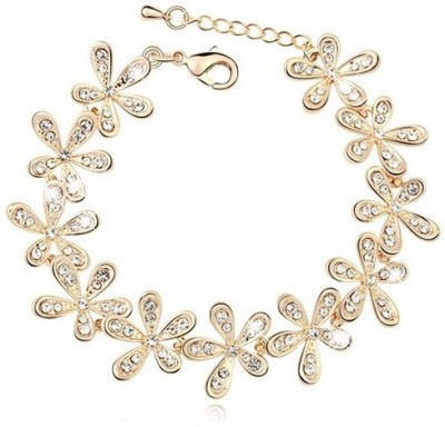 Wearyourfashion Alloy Crystal 18K Yellow Gold Bracelet