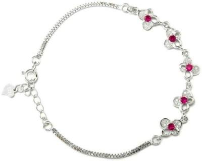 Radiant Jewels Sterling Silver Crystal Sterling Silver Bracelet