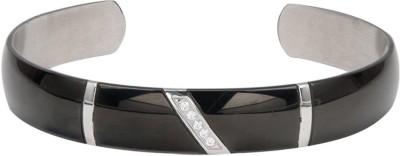 Inox Jewelry Stainless Steel Cubic Zirconia Cuff