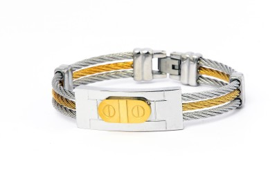 Handluv Stainless Steel Yellow Gold, Silver Bracelet