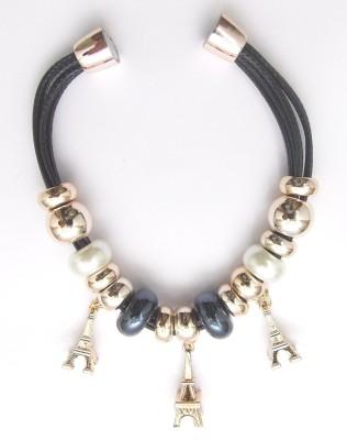 Hightrendz Alloy Black Silver Charm Bracelet