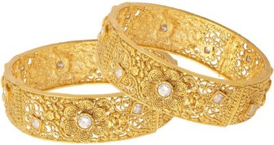 Voylla Copper Cubic Zirconia Yellow Gold Bangle Set(Pack of 2) at flipkart