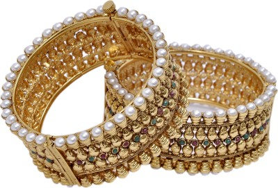 Aarna Jewels Silver Pearl Yellow Gold Bracelet Set