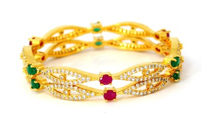 Belleza Jewelry Alloy Cubic Zirconia Yellow Gold Bracelet Set