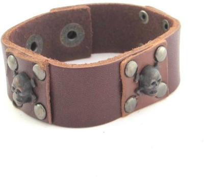 the jewelbox Leather Cubic Zirconia Brass Bracelet