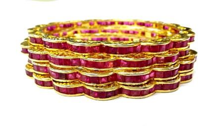Prakash Jewellers Brass Jade Yellow Gold Bangle Set