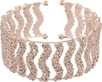 AccessHer Brass Cubic Zirconia Sterling Silver Cuff