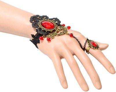 Sitaram Fabric Brass Ring Bracelet