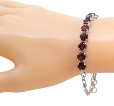 Be You Silver Garnet Rhodium Tennis Bracelet