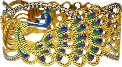Pearl Paradise Brass Cubic Zirconia Yellow Gold Kada
