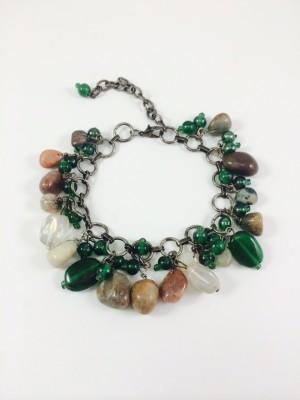 Bijoux 1940 Metal Agate Charm Bracelet