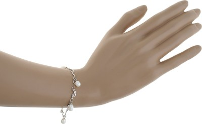 Classique Designer Jewellery Alloy Pearl Rhodium Bracelet Set