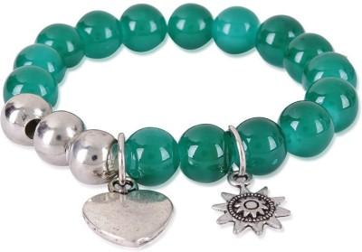 Trendy Baubles Metal, Glass Rhodium Charm Bracelet
