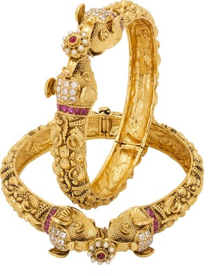 Adwitiya Collection Copper 24K Yellow Gold Bangle Set(Pack of 2) at flipkart