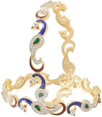 OPAL TOUCH Brass Rhodium Bangle Set