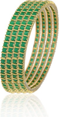 Alysa Brass, Copper, Silver Emerald Yellow Gold, Rhodium Bangle Set(Pack of 4)