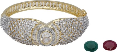 My Design Brass Cubic Zirconia Rhodium Bracelet
