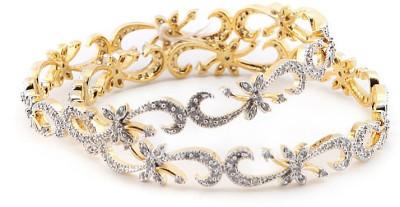 Sheetal Jewellery Brass, Alloy Cubic Zirconia Yellow Gold Bangle Set