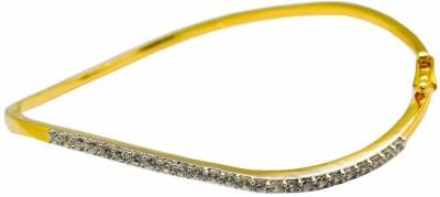 YugshaJewels Brass Cubic Zirconia Yellow Gold Bracelet