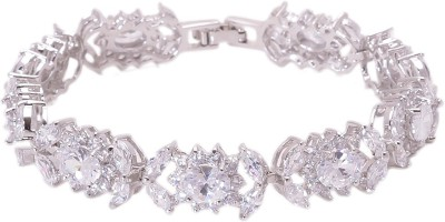 Crazymee Nickel, Aluminum Cubic Zirconia Platinum Bracelet