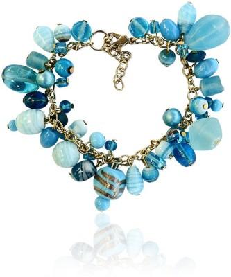 Beadworks Glass, Alloy, Acrylic Yellow Gold Bracelet