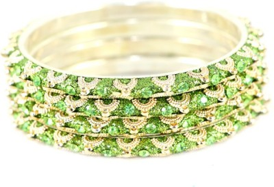 The Fine World Metal Zircon Brass Bangle Set(Pack of 4)