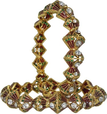 Anjan Brass Cubic Zirconia Yellow Gold Bangle Set