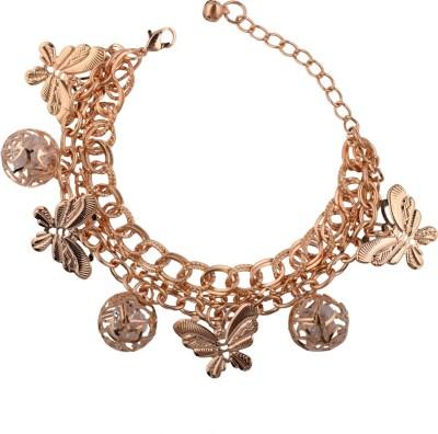 Trinetra Alloy Crystal Yellow Gold Charm Bracelet