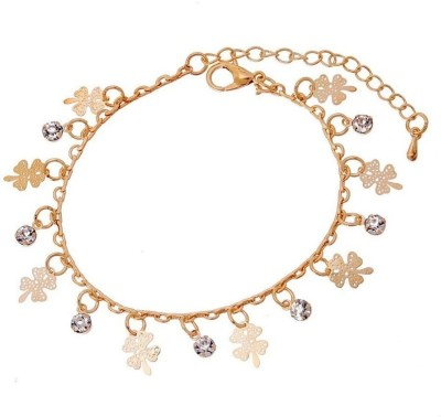 Wearyourfashion Alloy Crystal 18K Yellow Gold Charm Bracelet