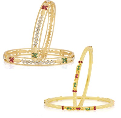 VK Jewels Alloy Cubic Zirconia 18K Yellow Gold Bangle Set(Pack of 4) at flipkart