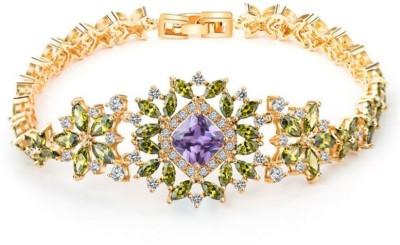 Karatcart Zinc Zircon 23K Yellow Gold Charm Bracelet