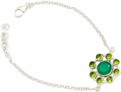 YugshaJewels Silver Onyx, Peridot Bracelet