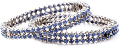 Shrungar Sterling Silver Sapphire Sterling Silver Bangle Set