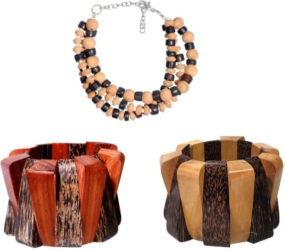 Kenway Retail Wood, Glass Silver Bracelet Set