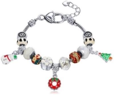 Radiant Jewels Alloy Beads Rhodium Charm Bracelet