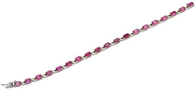 YugshaJewels Sterling Silver Ruby Rhodium Bracelet