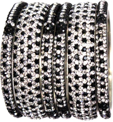Hyderabad Bangles Lac Crystal Brass Bangle Set(Pack of 6)