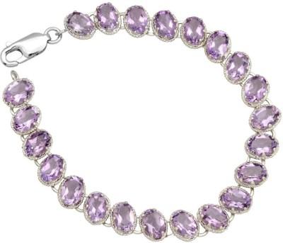 YugshaJewels Sterling Silver Amethyst Rhodium Bracelet