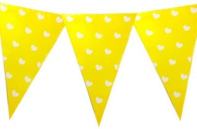 Planet Jashn Planet Jashn Heart Printed Buntings - Yellow Pennant Flag