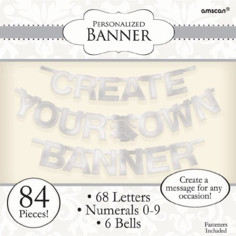 Amscan Create Your Own Banner Letter, Silver Banner(18.2 ft, Pack of 84)