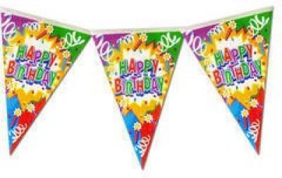 Planet Jashn Planet Jashn Happy Birthday Swirls & Candles Buntings Pennant Flag