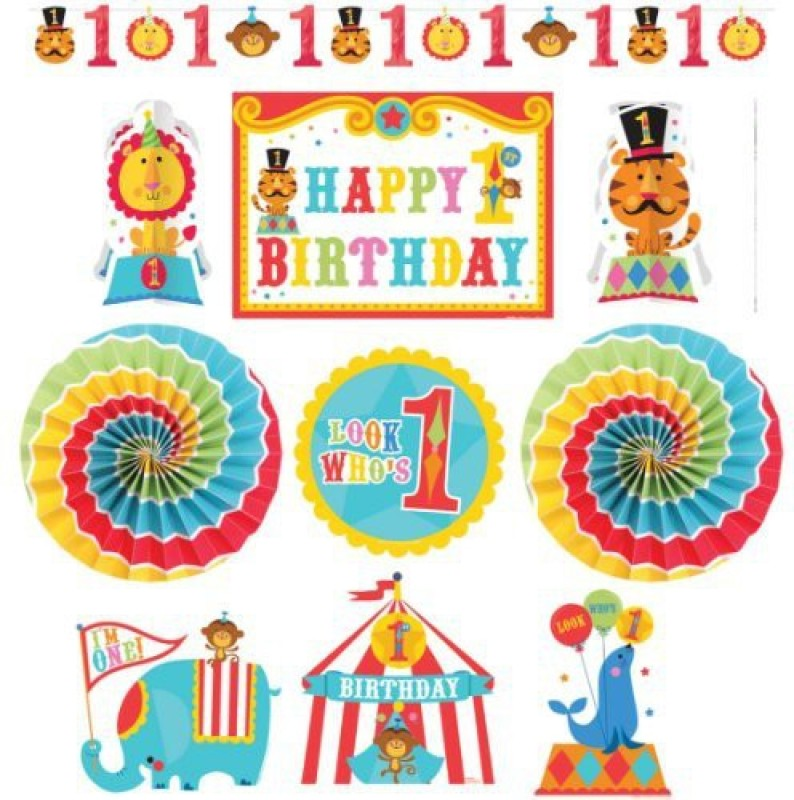 Amscan Fisher Price Birthday Circus Room Decorating Kit Banner(2.7 ft, Pack of 10)