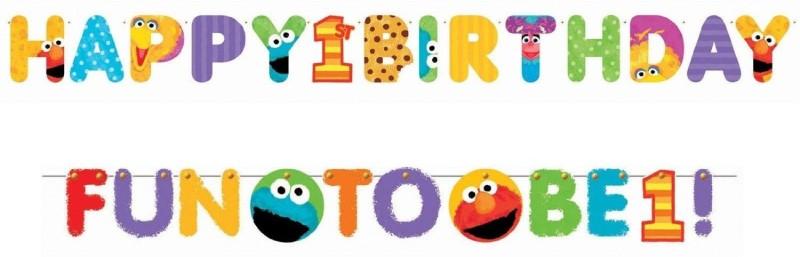 Amscan Bright Sesame Street 1st Birthday Jumbo Letter Banner Banner(7.1 ft, Pack of 1)