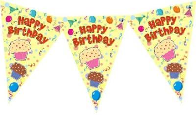 Planet Jashn Planet Jashn Happy Birthday Cupcake with Balloons Buntings Pennant Flag