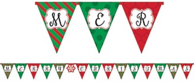 Party Propz Santa with Gifts Pennant Banner(8 ft, Pack of 1)