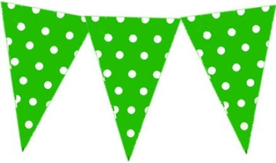 Planet Jashn Planet Jashn Green Polka Dots Bunting Pennant Flag