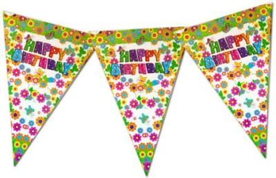 Planet Jashn Planet Jashn Happy Birthday Flowers & Butterflies Buntings Pennant Flag